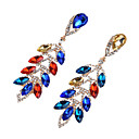 cheap LED Accessories-Women's Cubic Zirconia Drop Earrings - Zircon Leaf Fashion, Oversized Red / Blue / Champagne For Party / Prom