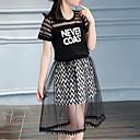 ieftine Seturi Îmbrăcăminte Fete-Copii Fete Dungi / Peteci Peteci / Imprimeu Manșon scurt Set Îmbrăcăminte