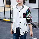 cheap Girls' Clothing Sets-Kids Girls' Simple / Active Patchwork Print Long Sleeve Jacket & Coat
