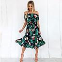 baratos Fantasias de Filme e Tema de TV-Mulheres Fofo Moda de Rua Chifon Vestido - Estampado, Floral Geométrica Médio