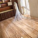preiswerte Handschuhe für die Party-Einschichtig Schnittkante / Brautkleidung Hochzeitsschleier Kapellen Schleier / Kathedralen Schleier mit Verstreute Perlen mit Blumen Spitze / Tüll / Oval