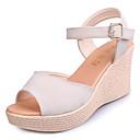 preiswerte Damen Sandalen-Damen Schuhe Gummi Frühling Komfort Sandalen Creepers Schwarz / Beige / Burgund / Keilabsätze