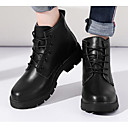 זול מגפי נשים-בגדי ריקוד נשים נעליים עור סתיו / חורף נוחות / מגפיים מגפיים עקב עבה מגפונים\מגף קרסול לבן / שחור / Wine