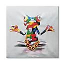 tanie Obrazy olejne-styledecor® nowoczesna ręcznie malowana abstrakcyjna siedząca żaba obraz olejny na płótnie na płótnie