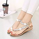 baratos Sandálias Femininas-Mulheres Sapatos Couro Ecológico Verão Conforto Sandálias Sem Salto Dourado / Prata