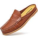 זול מגפיים לגברים-בגדי ריקוד גברים מוקסין עור נאפה Leather קיץ נוחות סוגי כפכפים נעלי מים שחור / חום