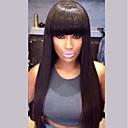 זול כיסויים-שיער ללא שיער שיער אנושי ישר תספורת שכבות שיער טבעי טבע שחור הוכן באמצעות מכונה פאה בגדי ריקוד נשים