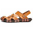 cheap Men's Sandals-Men's Cowhide Summer Comfort Sandals White / Black / Brown