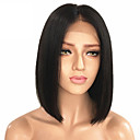 cheap Human Hair Wigs-Remy Human Hair Unprocessed Human Hair Lace Front Wig Malaysian Hair Straight Black Wig Bob Middle Part 130% Density with Baby Hair Natural Hairline Unprocessed Bleached Knots Black Women's Short