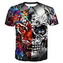 preiswerte Parykopfbedeckungen-Herrn Totenkopf Motiv - Grundlegend Baumwolle T-shirt, Rundhalsausschnitt Druck / Kurzarm