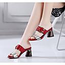 ieftine Tocuri de Damă-Pentru femei Pantofi PU Primăvară / Vară Gladiator Sandale Toc Îndesat Vârf pătrat Piatră Semiprețioasă Rosu / Verde / Albastru