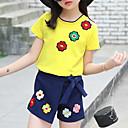 זול סטים של ביגוד לבנות-סט של בגדים כותנה קיץ חצי שרוול יומי אחיד רקמה בנות יום יומי אודם צהוב