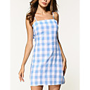cheap Men's Rings-Women's Going out Street chic Shift Dress - Plaid Strap / Spring / Summer