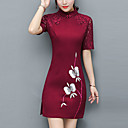 cheap Kigurumi Pajamas-Women's Plus Size Party / Going out Street chic / Chinoiserie Slim Sheath Dress - Color Block Lace / Split / Patchwork Stand Summer Red Navy Blue Wine XL XXL XXXL