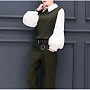 tanie Kozaki damskie-Damskie Jendolity kolor Moda miejska Nogawka Praca Długi rękaw Kołnierzyk koszuli Wiosna
