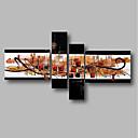 ieftine Picturi în Ulei-Hang-pictate pictură în ulei Pictat manual - Abstract / Peisaj Contemporan Includeți cadru interior / Patru Panouri / Stretched Canvas