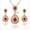 זול סטים של תכשיטים-בגדי ריקוד נשים סט תכשיטים - ציפוי זהב פשוט, חמוד, אופנתי לִכלוֹל שרשראות תליון תליונים סטי תכשיטי כלה אדום עבור חתונה משרד קריירה