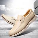 tanie Męskie obuwie sportowe-Męskie Komfortowe buty Skórzany Zima Mokasyny i pantofle Biały / Beżowy