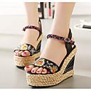baratos Sandálias Femininas-Mulheres Sapatos Couro Verão Conforto Sandálias Salto Plataforma Preto / Amêndoa / Calcanhares
