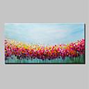 זול ציורי פרחים/צמחייה-ציור שמן צבוע-Hang מצויר ביד - מופשט / פרחוני / בוטני מודרני בַּד