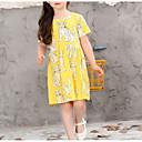 baratos Vestidos para Meninas-Infantil Para Meninas Básico Geométrica Sem Manga Vestido Amarelo