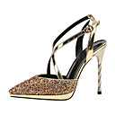 cheap Women's Heels-Women's Shoes Paillette Summer Slingback / Basic Pump Heels Stiletto Heel Pointed Toe Buckle Black / Silver / Brown / Party & Evening