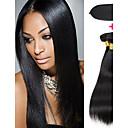 זול פתרון חפיסה אחת-3 חבילות עם סגירה שיער פרואני ישר שיער אנושי שיער Weft עם סגירה צבע טבעי שוזרת שיער אנושי מתנה / הלבשה קלה / איכות מעולה תוספות שיער אדם בגדי ריקוד נשים