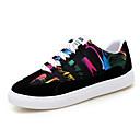 זול סנדלי נשים-בגדי ריקוד נשים נעליים PU אביב קיץ נוחות נעלי ספורט שטוח בוהן עגולה שחור / שחור וזהב