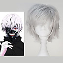 hesapli Anime Kostümleri-Cosplay Perukları Tokyo Gulyabani Ken Kaneki Gümüş Anime Cosplay Perukları 12 inç Isı Dirençli Fiber Erkek Cadılar Bayramı Peruk