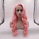 cheap Synthetic Lace Wigs-Synthetic Lace Front Wig Wavy Pink Layered Haircut Synthetic Hair curling Pink Wig Women's Mid Length Lace Front / Yes