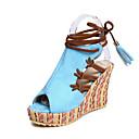 ieftine Sandale de Damă-Pentru femei Pantofi Piele nubuc Primavara vara Confortabili / Noutăți Sandale Toc Platformă Pantofi vârf deschis Franjuri Portocaliu /