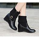 povoljno Ženske čizme-Žene Cipele PU Zima Modne čizme Čizme Wedge Heel Čizme do pola lista Obala / Crn / Bež