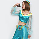 cheap Movie & TV Theme Costumes-Princess Jasmine Cosplay Costume Christmas Halloween Carnival Festival / Holiday Halloween Costumes Outfits Solid Color Fashion