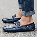 cheap Men's Slip-ons & Loafers-Men's Moccasin Leather Fall Comfort Loafers & Slip-Ons White / Black / Dark Blue