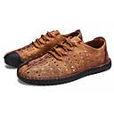 זול סניקרס לגברים-בגדי ריקוד גברים אור סוליות עור נובוק קיץ נעלי אוקספורד שחור / צהוב / חאקי