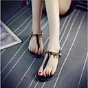 זול סנדלי נשים-בגדי ריקוד נשים נעליים PU קיץ נוחות סנדלים שטוח בוהן עגולה לבן / שחור