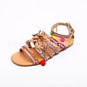 זול סנדלי נשים-בגדי ריקוד נשים נעליים PU קיץ רצועת קרסול סנדלים שטוח בוהן מציצה כפתור Marron
