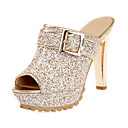 cheap Women's Sandals-Women's Shoes Sparkling Glitter Spring & Summer Novelty / Slingback Sandals Stiletto Heel Peep Toe Buckle Gold / White / Black