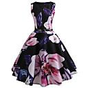 billige Trendy klokker-Dame Vintage Bomull Tynn Bukser - Blomstret Trykt mønster Svart / Ut på byen