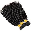 billige Hairextension med naturlig farge-3 pakker Peruviansk hår Krøllet / Dyp Bølge Ekte hår Menneskehår Vevet 8-28 tommers Svart Naturlig Farge Hårvever med menneskehår Ekstensjon / Hot Salg / Til fargede kvinner Hairextensions med
