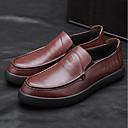 זול סניקרס לגברים-בגדי ריקוד גברים עור קיץ נוחות נעליים ללא שרוכים שחור / חום בהיר