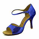 abordables Zapatos de Baile Latino-Mujer Latino Salsa Brillantina Semicuero Sandalia Tacones Alto Rendimiento Profesional Hebilla Corbata de Lazo Tacón Personalizado Dorado