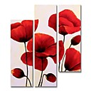 cheap Oil Paintings-Oil Painting Hand Painted - Abstract / Floral / Botanical Comtemporary / Modern Stretched Canvas / Five Panels