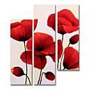 baratos Pinturas Florais/Botânicas-Pintura a Óleo Pintados à mão - Abstrato Floral / Botânico Contemprâneo Modern Incluir moldura interna / 5 Painéis / Lona esticada