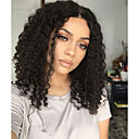 cheap Synthetic Lace Wigs-Synthetic Lace Front Wig Curly Side Part 150% Density Synthetic Hair With Baby Hair / Heat Resistant / Natural Hairline Black / Dark Brown Wig Women's Short Lace Front / Yes / For Black Women