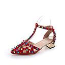זול מגפי נשים-בגדי ריקוד נשים גומי / EVA קיץ רצועת T סנדלים הליכה חסום את העקב מגפיים באורך אמצע - חצי שוק ניטים שחור / בז' / אדום