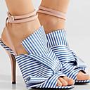 cheap Women's Boots-Women's Shoes PU(Polyurethane) Spring & Summer Comfort / Novelty Sandals Stiletto Heel Peep Toe Buckle Blue / Party & Evening