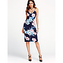 cheap Party Headpieces-Women's Club Going out Holiday Street chic Bodycon Dress - Floral Blue High Rise Strap