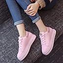 זול מוקסינים לנשים-בגדי ריקוד נשים נעליים PU אביב נוחות נעלי ספורט שטוח בוהן עגולה שחור / ורוד