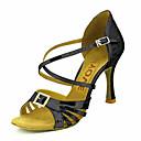abordables Zapatos de Baile Latino-Mujer Zapatos de Baile Latino / Zapatos de Salsa Brillantina / Semicuero Sandalia / Tacones Alto Hebilla / Corbata de Lazo Tacón / Cuero
